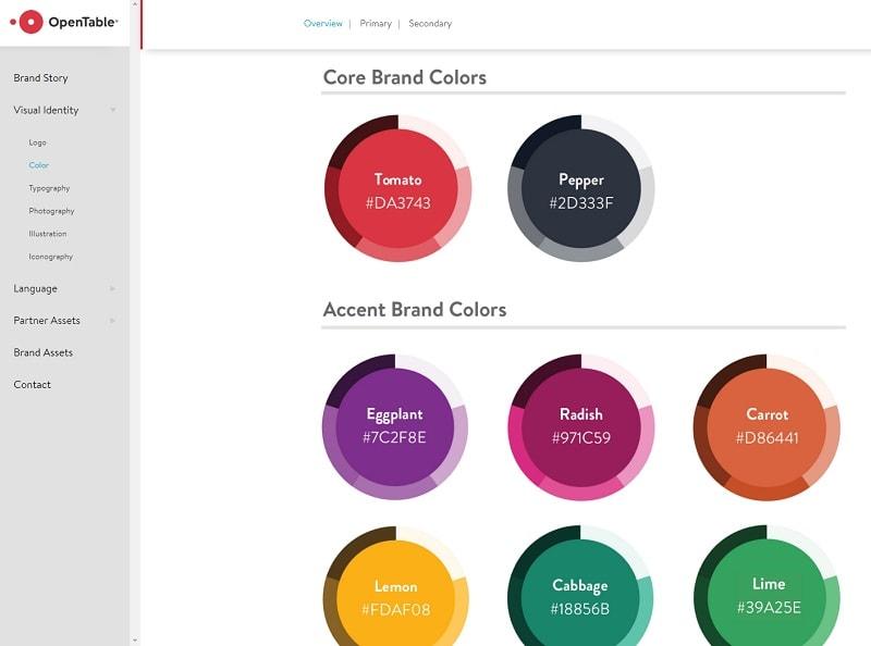 ejemplo de paleta de colores opentable