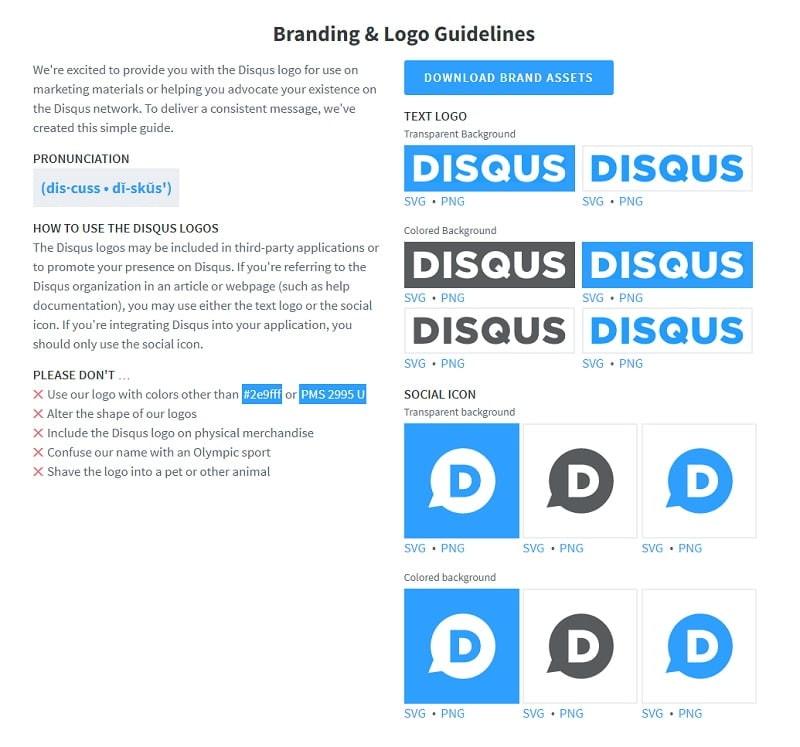 guía para el uso de logos en Disqus