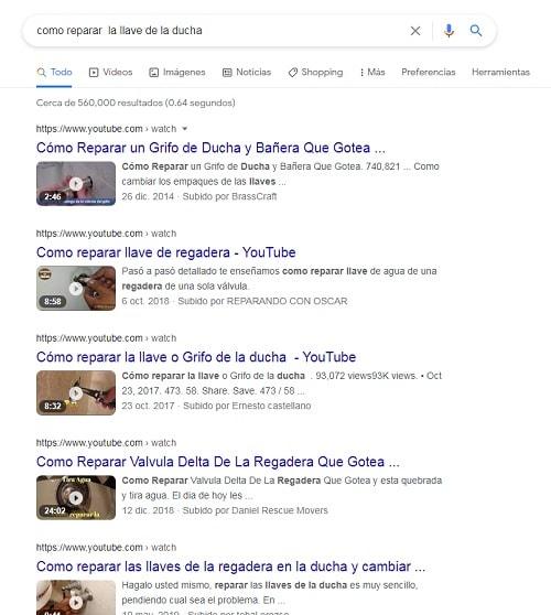 pagina de resultados de Google - videos