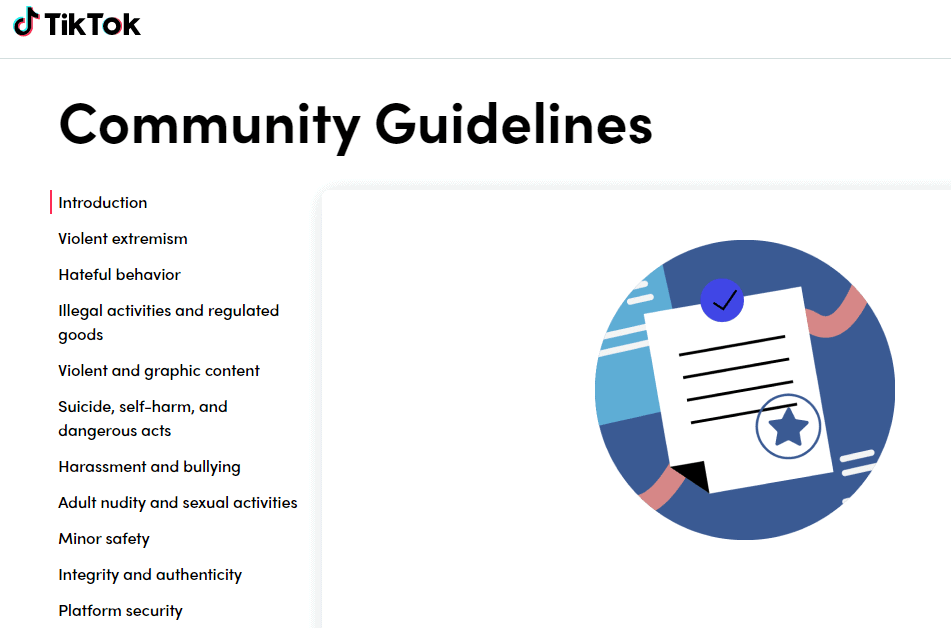 guias de la comunidad de tiktok