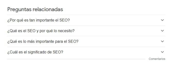preguntas relacionadas de Google